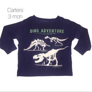 Carters Navy Blue Thermal Dinosaur Shirt 3 mon
